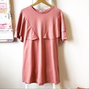Zara Trafaluc Ruffle Tunic Mini Dress Coral Medium